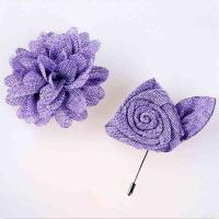 Best Non Woven Purple Handmade Flower Brooch Delicate With Boutonniere Pin wholesale