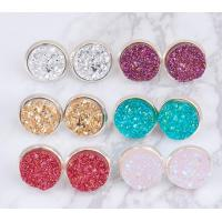 Best Multicolored Gold Druzy Stud Earrings Round Shaped Gold Plated Solar Quartz Dyed wholesale