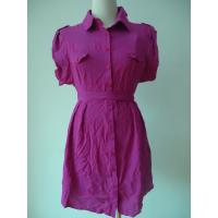 Best 100 Viscose Purple Button Up Blouse Dress , Waist Belt Office Shirt Dress OEM Available wholesale
