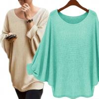 Best Solid Color Batwing Sleeve Jumper High Low Pullover Sweater Casual Clothes wholesale
