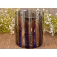 Best Decorative Straight Walled Glass Candle Holder with Electroplating Color Effect wholesale