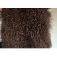Best Brown Dyed Rectangular Mongolian Sheepskin Rug Fur For Baby Photography wholesale