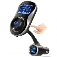 China Dual USB Port FM Transmitter  Bluetooth AUX Audio Receiver Adapter ,  Support U Disk TF Card Play Music With LCD Display on sale