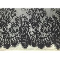 China Black Width 60 Nylon Embroidered Eyelash Lace Trim with Knitted / Jacquard on sale