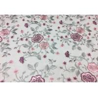 Best Floral Embroidered Mesh Lace Fabric , Embroidered Tulle Lace Fabric For Wedding Dress wholesale
