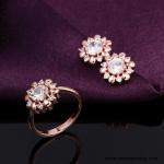 Best Elegant Flower Model Finger 18k Gold Plated Top Sale Jewelry Earrings Set wholesale