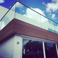 Cheap Exterior Aluminum U Channel Tempered Glass Balcony Stainless Steel Railing for sale