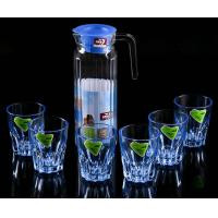 Best High Borosilicate Glass Water Pot , Glass Juice Pitcher With Lid 1100 ML wholesale