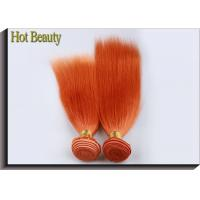 Cheap Orange Virgin Human Hair Extensions 12 Inch Double Stitch Weft Single Drawn for sale