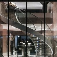 Best Indoor / Outdoor Stainless Steel Double Beam Curved Wood Stairs with Glass Railing wholesale