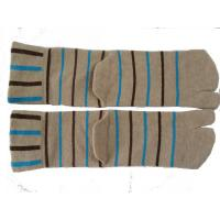 Best OEM Autumn Light Brown Pure Cotton Knitted Two Toe Socks, Couple Socks With Black + Blue Stripe wholesale