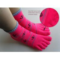 Best Spring / Summer Sweat Absorbent Cotton Red Five Toes Terry Loop Socks For Ladies / Girls wholesale