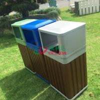 Best WPC Outdoor Composite Trash Cans Grey Waterproof Fading Resistance 415 X 365 X 900mm wholesale