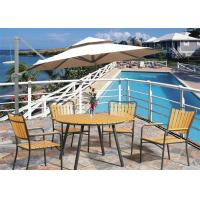 Best Swimming Pool Composite Deck Furniture Weather Resistant Natural Wood Color With Tent wholesale