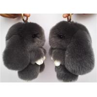 Best Dark Grey Real Rabbit Fur Keychain Cute Plush Animal Shape For Garment wholesale