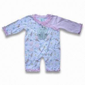 Best Baby Romper with Elephant Design, Mafe of 100% Cotton Interlock, 220g/m wholesale