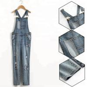 Best Custom Logo Teen Girls Denim Clothes Adjustable Strap Denim Fabric Overalls wholesale