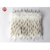 Best White Plush Faux Fur Fabric With Black Tip Collar Tissavel Boots Toys 1100 Gsm wholesale