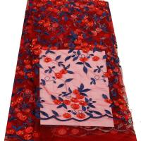 China African Beautiful Dress Flower Embroidery Lace Fabric on sale