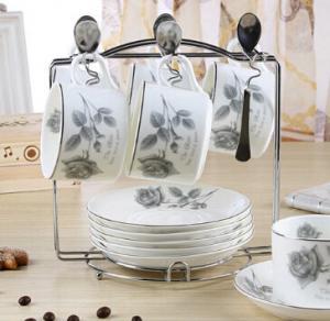 China European ceramic coffee cup sets 6pcs on sale