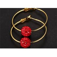 China Red Crystal Pave Beads Stainless Steel Earring Disco Ball Hoop Earrings on sale