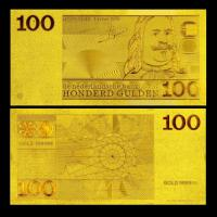 Best Netherland 100 Gulden Gold Foil Banknote Pure 99.9% 24K Gold Plated For Souvenir Gift wholesale