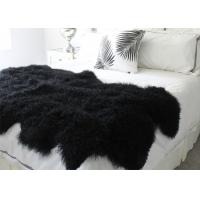 Best Black Soft Washable Real Sheepskin Rug Warm With Long Hair Thick Full Fur wholesale