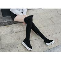 Best Womens Black Knee High Platform Boots , Tight Over The Knee Boots For Tall Ladies wholesale