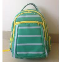 Best OEM ODM Green White Polyester Striped High School Backpacks with Laptop Pocket wholesale