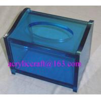 China Blue Top Grade Hotel Supply Decorative Acrylic Plastic Rectangular Tissue Box on sale