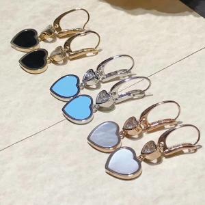 Best 18K Gold Chopard Jewelry , Chopard Happy Diamond Heart Earrings With Gems wholesale