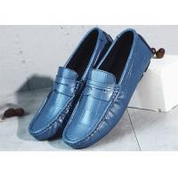 Best Flat Heel Mens Navy Blue Leather Loafers , Mens Casual Penny Loafers Driving Shoes wholesale