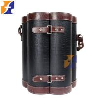 Best Unique PU Immitation Leather wood gift case box for wine glass bottle packaging wholesale