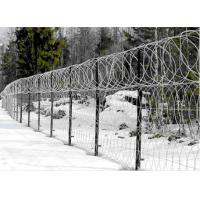 Single / Double Twisted Razor Barbed Wire Fence  Low Carbon Steel With PVC Coated