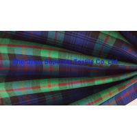 Best Green Blue Plaid Yarn Dyed Elastic Stretch Fabric Polyester Twill / Drill for Men's Lady's uniforms wholesale