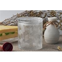 Cheap Contemporary Glass Candle Holder Transparent With Embossed Pattern for sale
