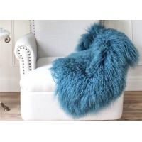 Best Mongolian Sheepskin Rug Home Decoration Customize Design Genuine Leather Fur Various Blue Colors wholesale