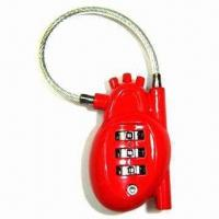 Best 3 digits heart shape combination lock with cable wholesale