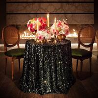 Best New cheap Hot sale fancy 100% polyester embroidery metallic wedding 60 inch round sequin tablecloth wholesale