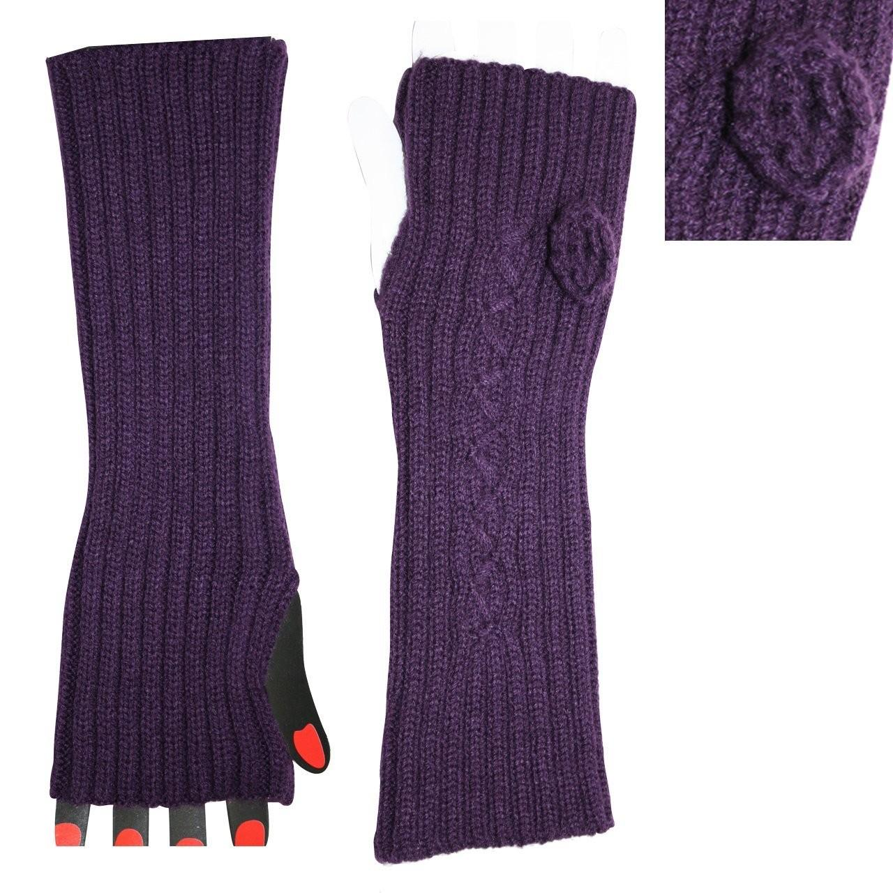 Best Custom Made Eco-friendly Acrylic Purple Knitted Arm Warmer For Women / Girls with Competitive Price wholesale