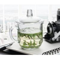 Best Office Retro Drinking Glasses With Glass Lid / Boss Cup Glass Coffee Mug wholesale