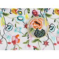 Best Beautiful Flower Embroidered Net Lace Fabric , 3d Flower Lace Fabric 100% Polyester wholesale