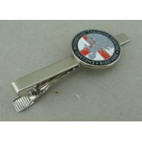 Best Silver Personalized Tie Bar Cufflink For Promotional , Brass Tie Tack By Die Stamped wholesale