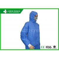 China SMS 65g Blue Waterproof Anti-static Disposable Protective Clothing For Industry on sale