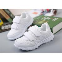 Best Breathable Little Girl Gym Shoes , Kids White Sneakers With Two Magic Straps wholesale