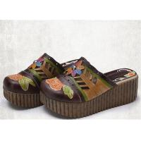 Best High Platform Slip On Sandals , Leather Slide Sandals Artistic Pattern Painted / Carved wholesale
