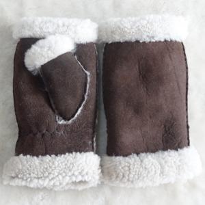 Best Stock Ladies Lambskin Gloves with Curly Fur Trim Cuff Shealring Sheepskin Fingerless Gloves wholesale
