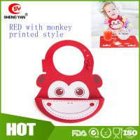 Best Cute Monkey Printed Baby Placemat Silicone Bibs With Crumb Catcher wholesale