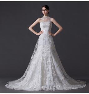 Best Unique Pearl illusion neckline Halter Neck Wedding Dresses with Lace back wholesale
