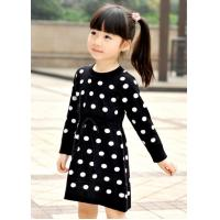 Best Polka Dots Jacquard Knit Little Girls Winter Dresses Full Sleeve 4 Year Old Girl Clothes wholesale
